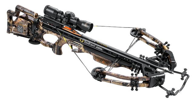 A compound crossbow with bolt and sight