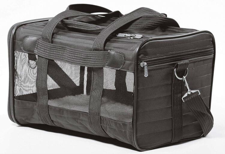 Black mesh pet travel carrier