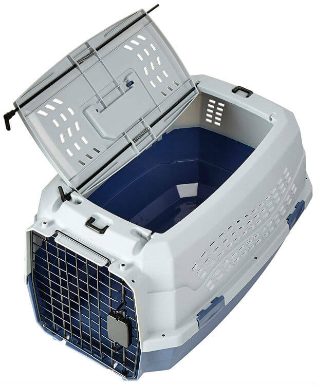A gray and off-white hard pet kennel with opened top and wire-steel door