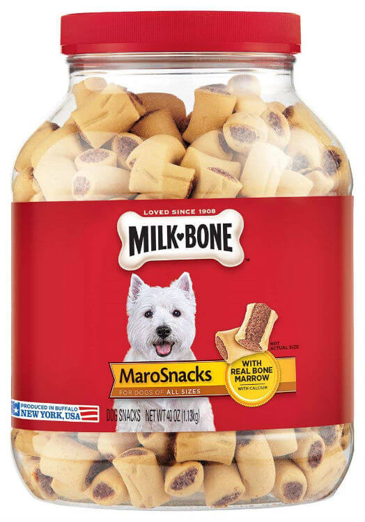 Clear container of milkbone, marrow filled dog treats