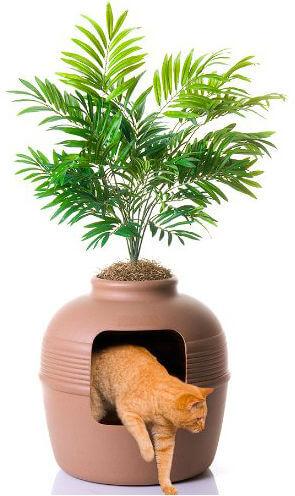 Cat exits a litter box hidden in fake plant