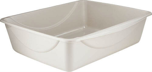 A simple and empty gray cat litter pan