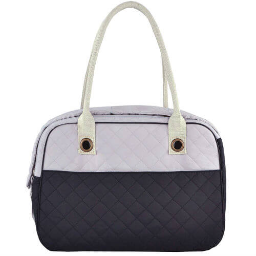 Two-tone quilted dog purse