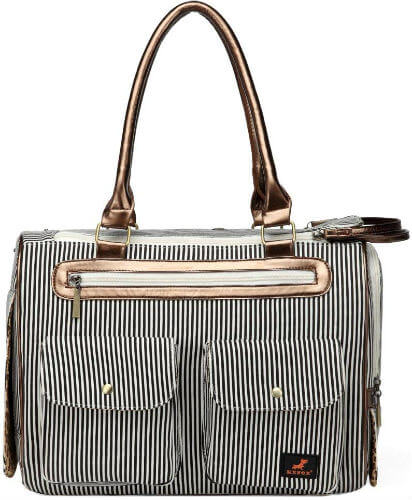 A stylish black and white striped purse to carry small dogs