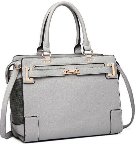A stylish gray handbag with mesh sides for carrying small dogs