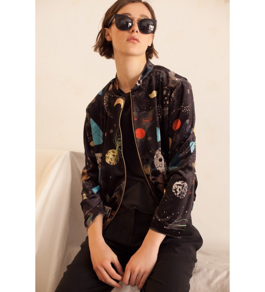 Galaxy Print Bomber Jacket
