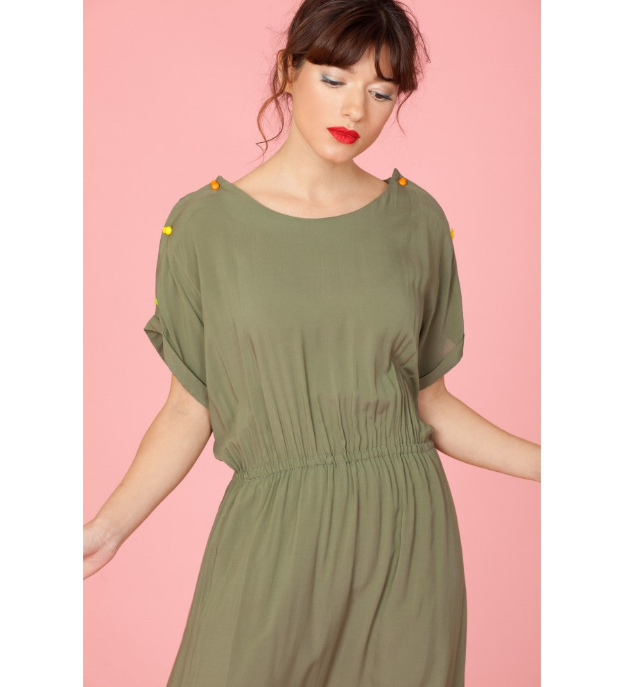 Khaki Midi Dress