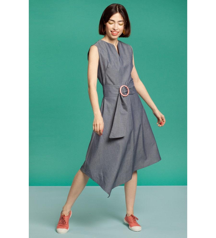 Asymmetric Checked Midi Dress