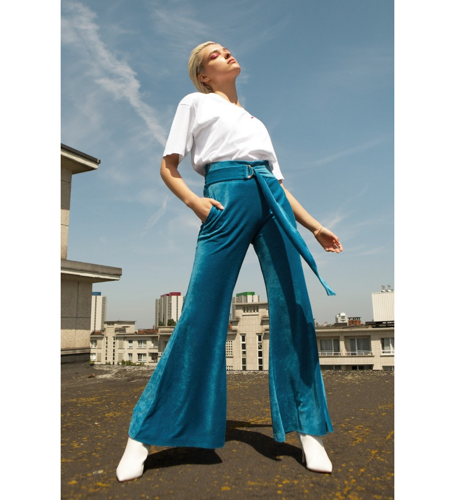 Belted Velour Flared Trousers