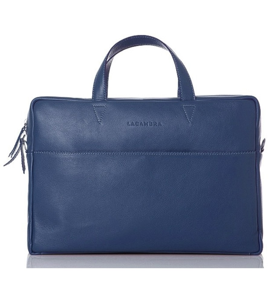 Maxi Blue Leather Briefcase