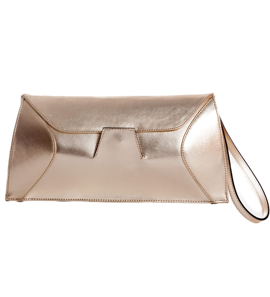 Metallic Leather Clutch Bag