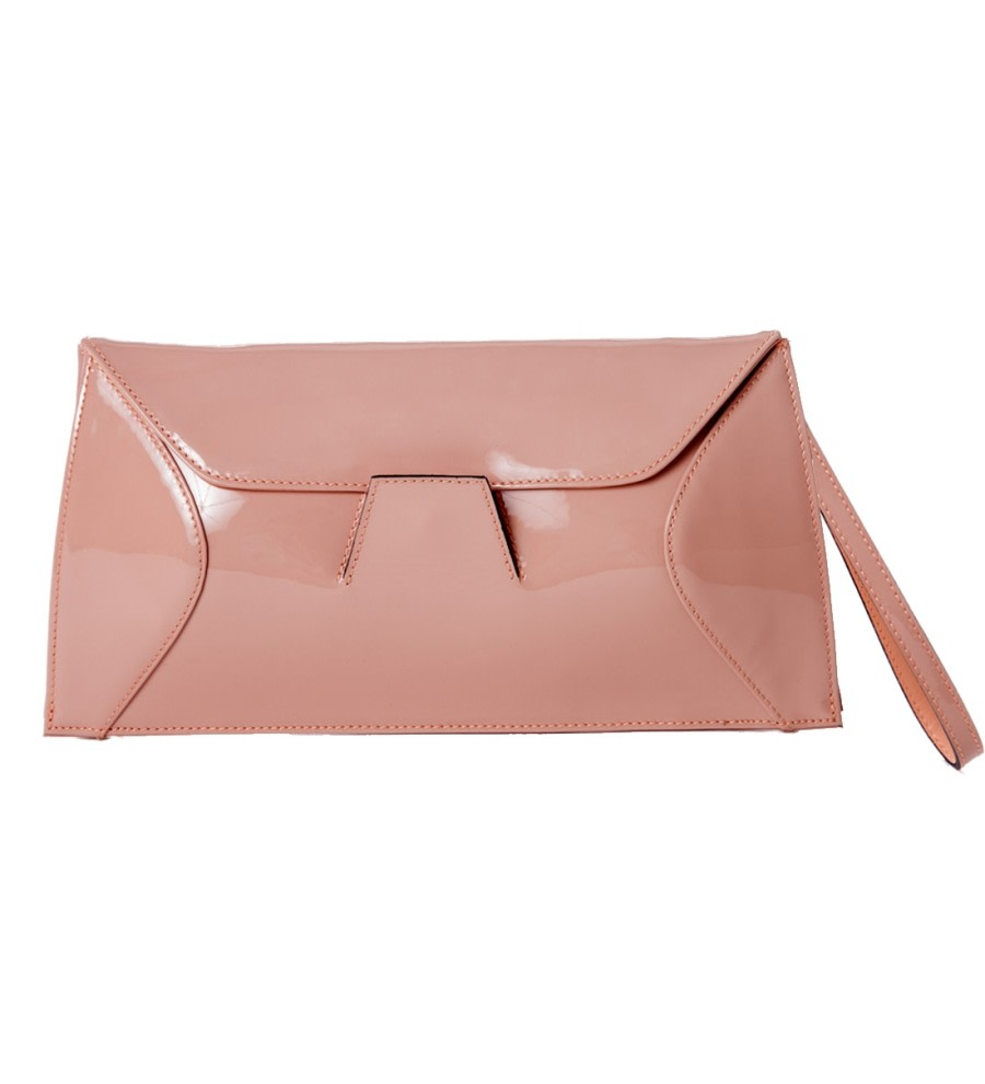 Rose Patent Leather Clutch