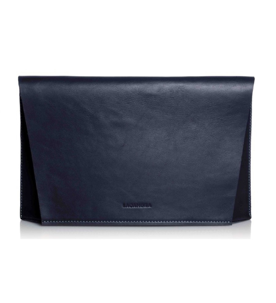 Capote Navy Leather Clutch