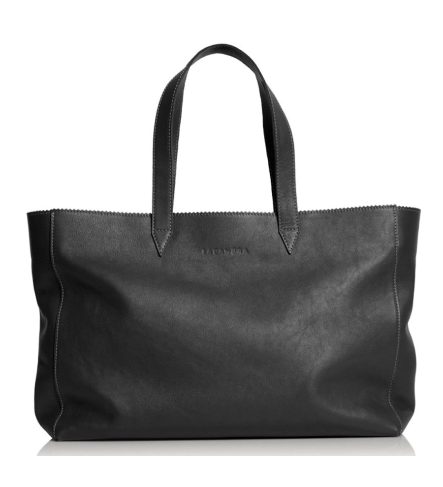 Black Leather Shopper Bag