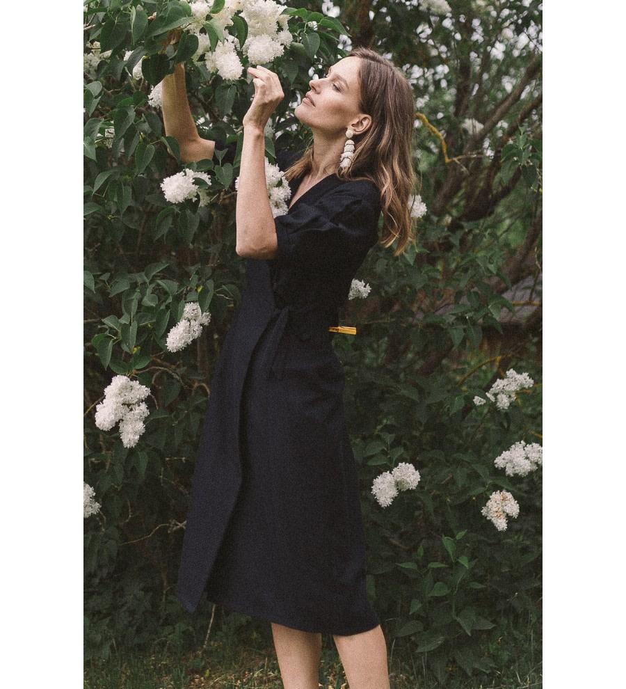 Black Organic Cotton Wrap Dress