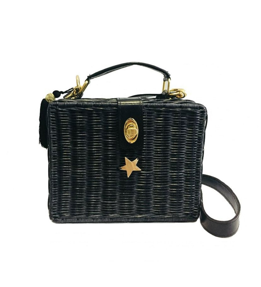 Black Wicker Box Bag