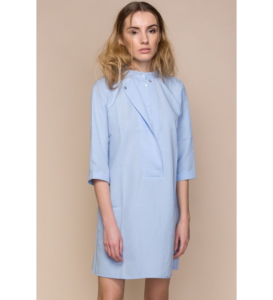 Blue Poplin Mini Shirt Dress