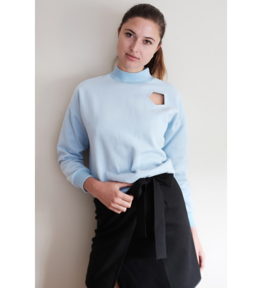 Blue Mock-Neck Jumper