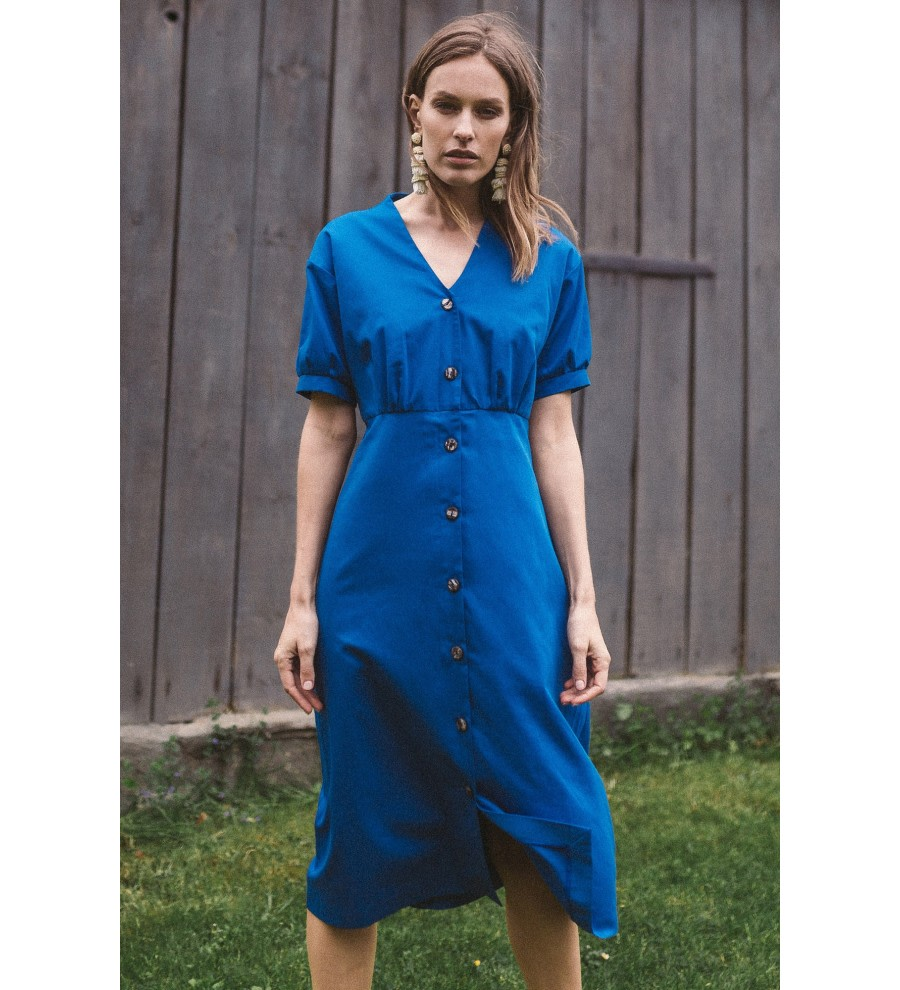 Blue Organic Cotton Midi Dress