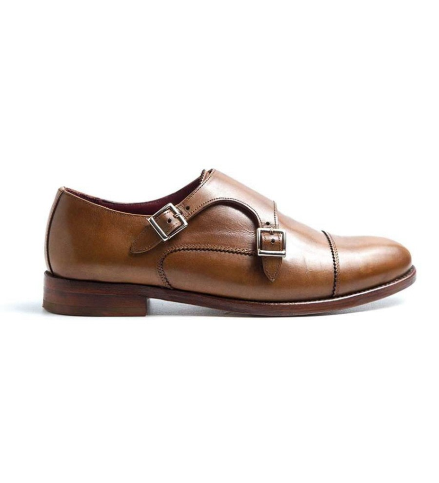 Brown Monk-Strap Leather Shoes