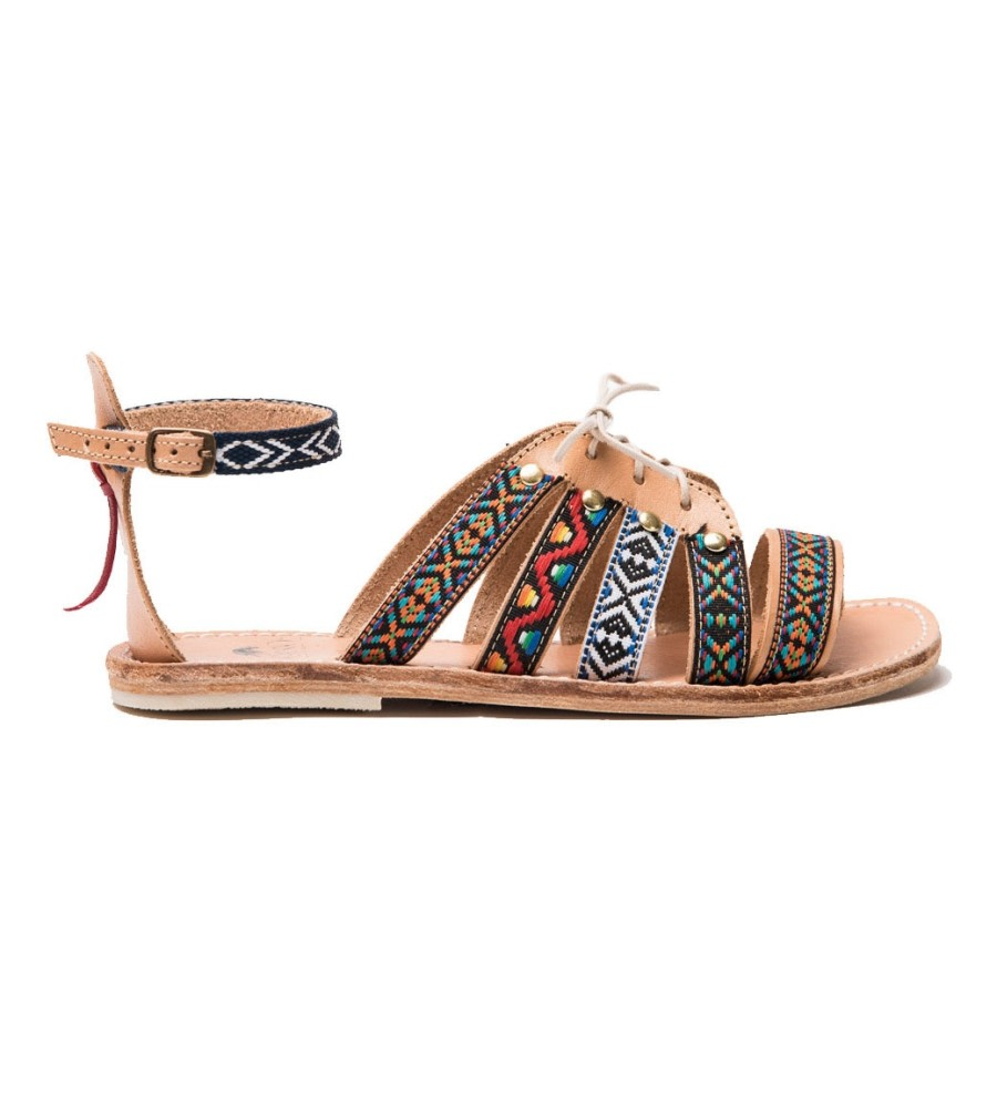 Huichol Leather Gladiator Sandals