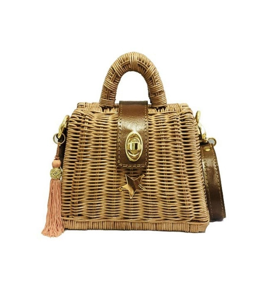 Cantik Top-Handle Raffia Bag