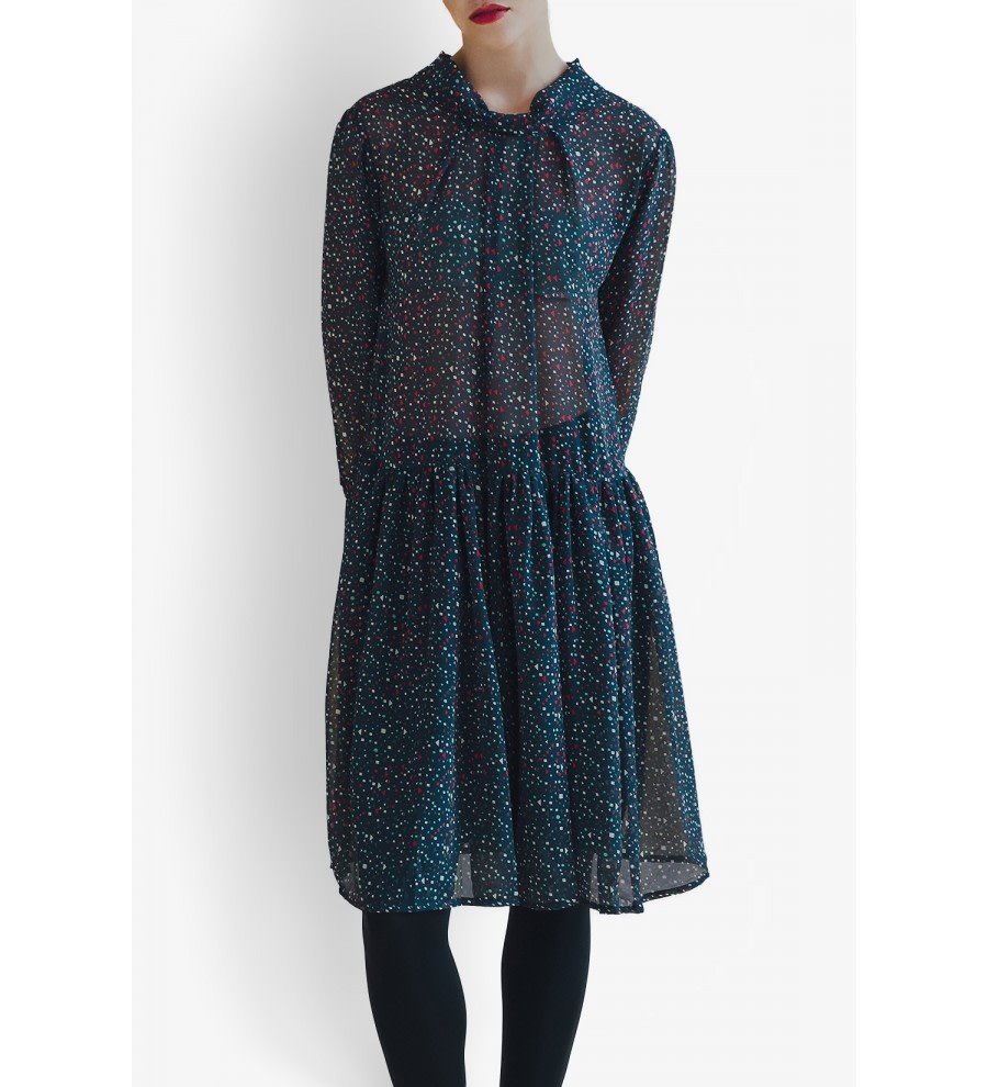 Rose Geometric-Print Dress