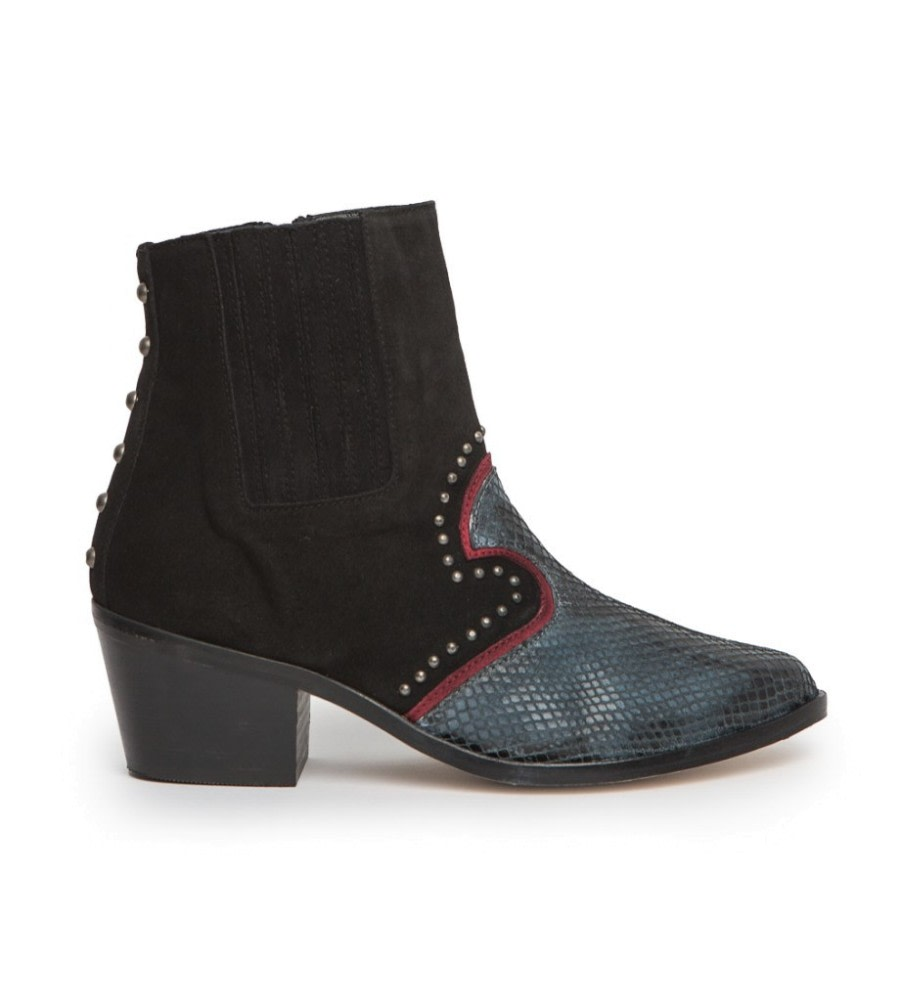 Cowboy Snake-Effect Ankle Boots