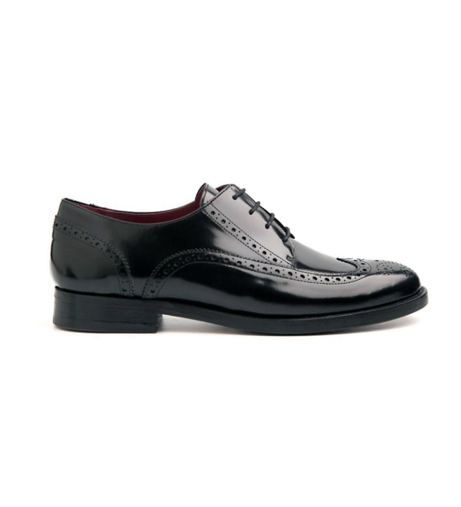 Ethel Black Leather Brogues