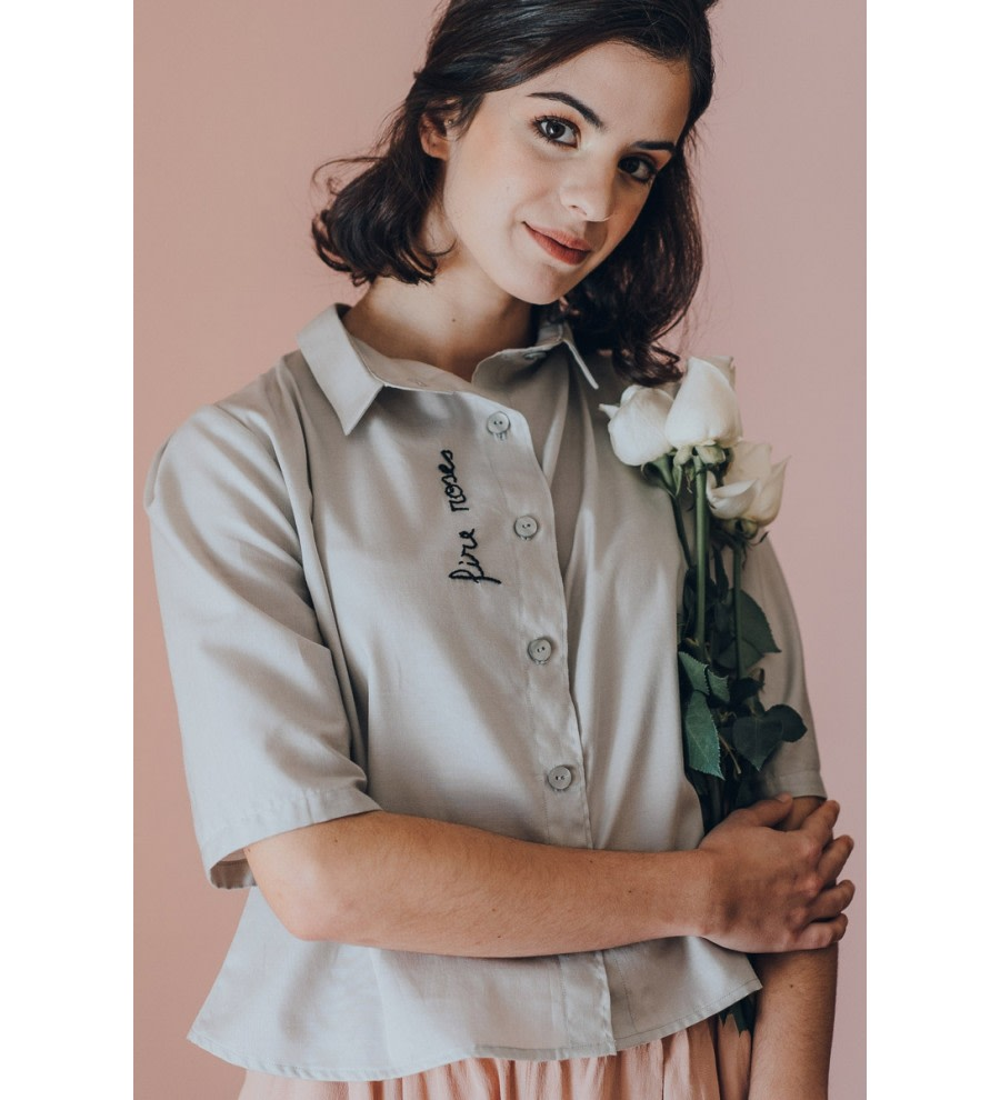 Fire Roses Embroidered Shirt