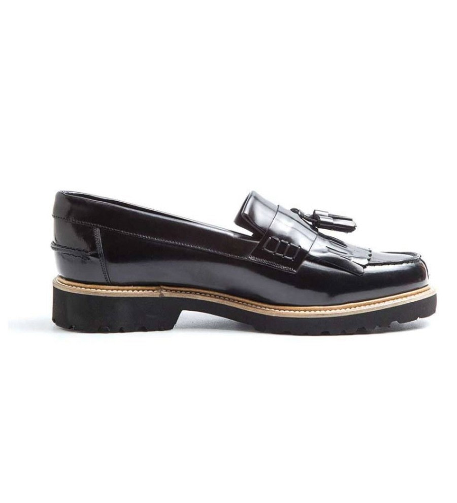 Fringed Black Leather Loafers