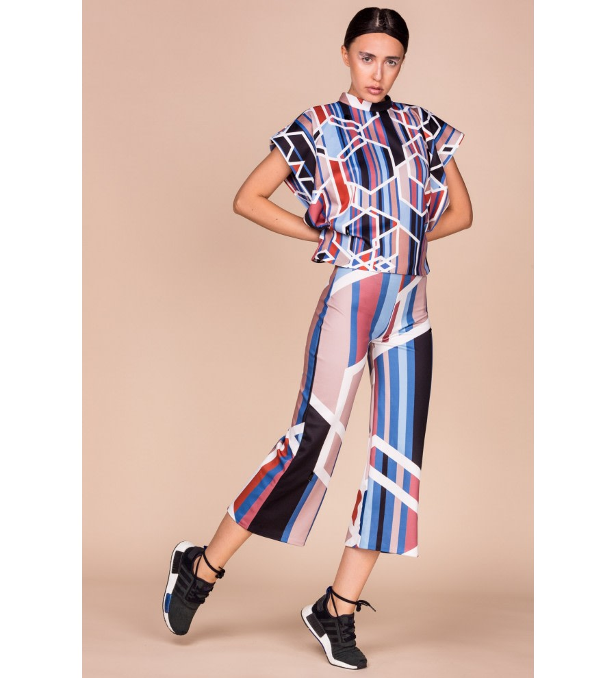 Geometric-Print Cropped Trousers