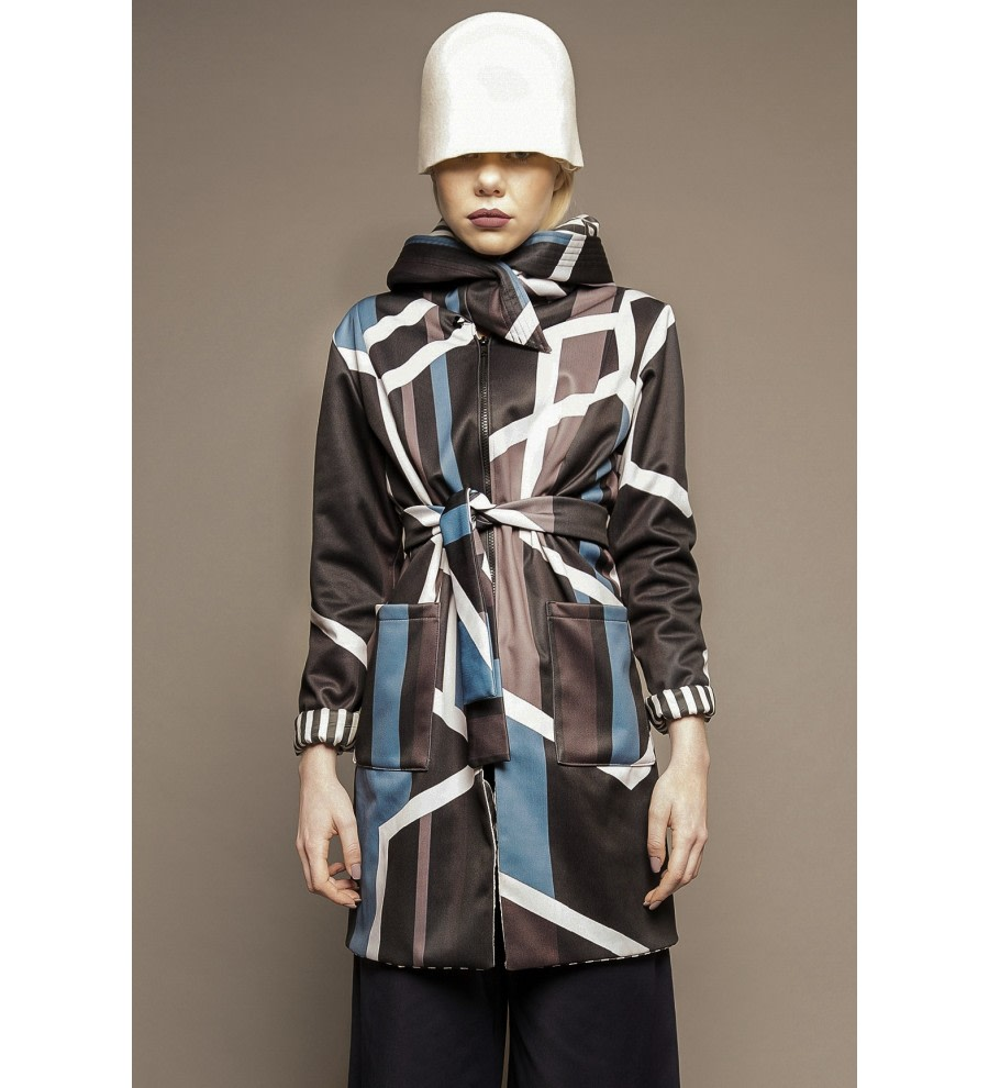 Geometric-Print Hooded Raincoat