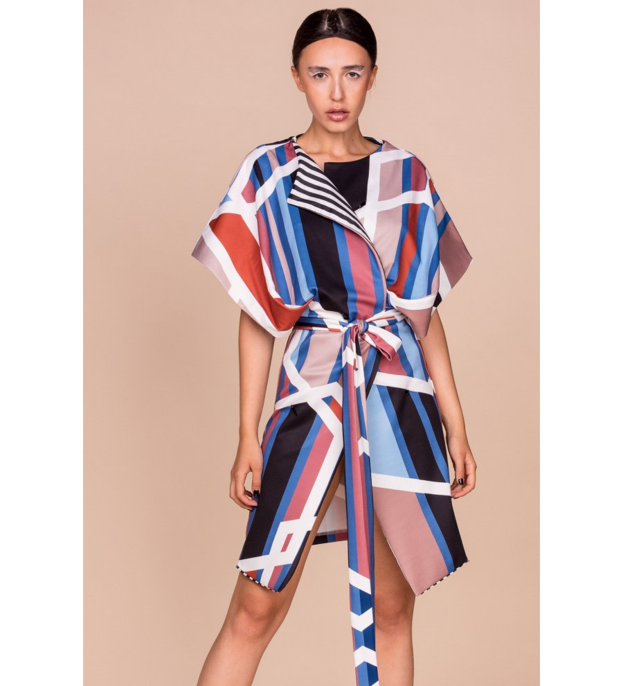 Geometric-Print Kimono Jacket