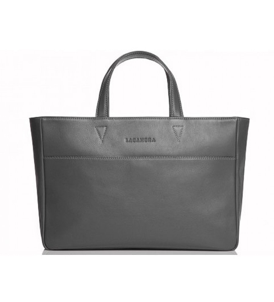 Graphite Large Leather Tote
