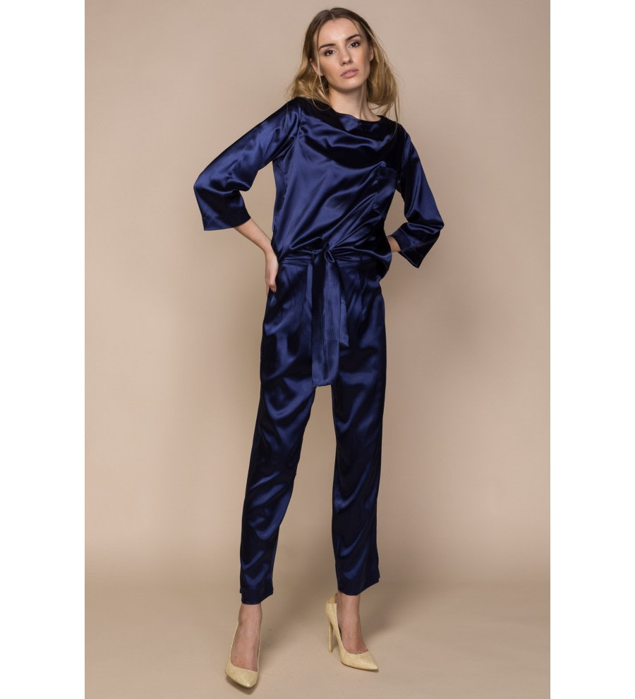 Navy Satin Co-Ordinate Set