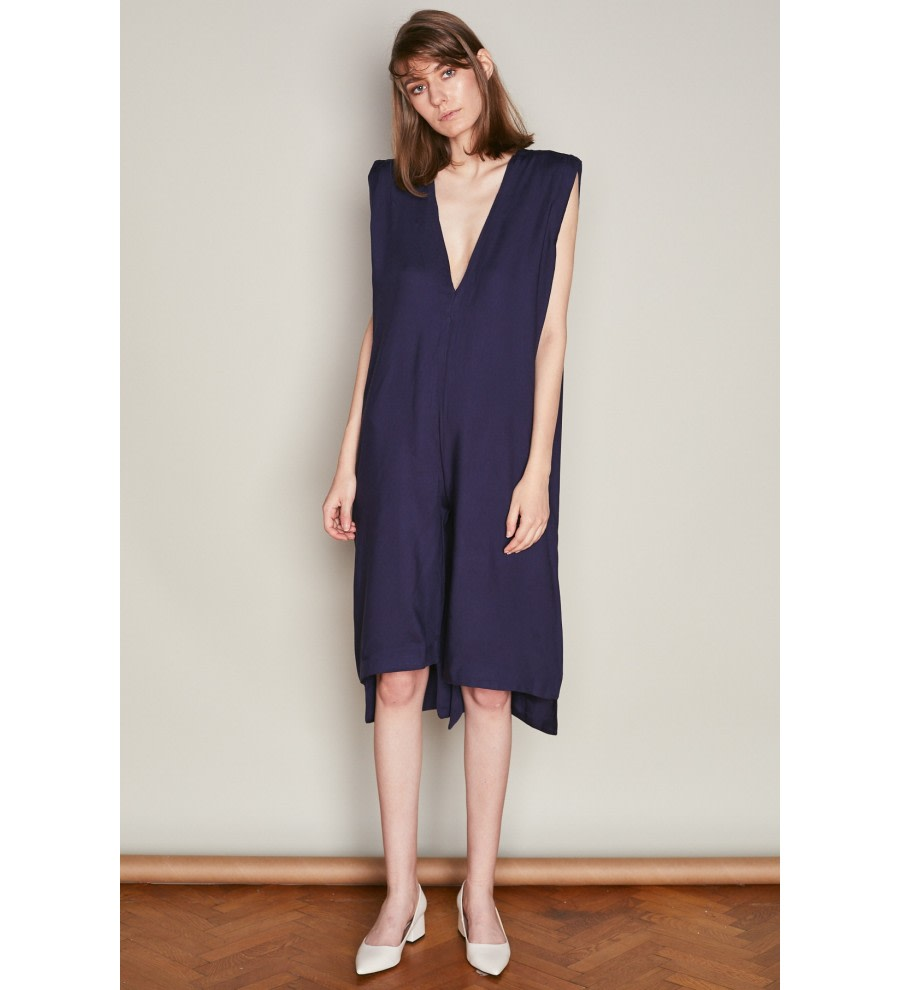 Navy V-Neck Asymmetric Jumpsuit