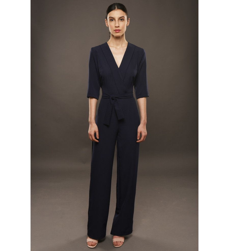 Navy Wide-Leg Jumpsuit
