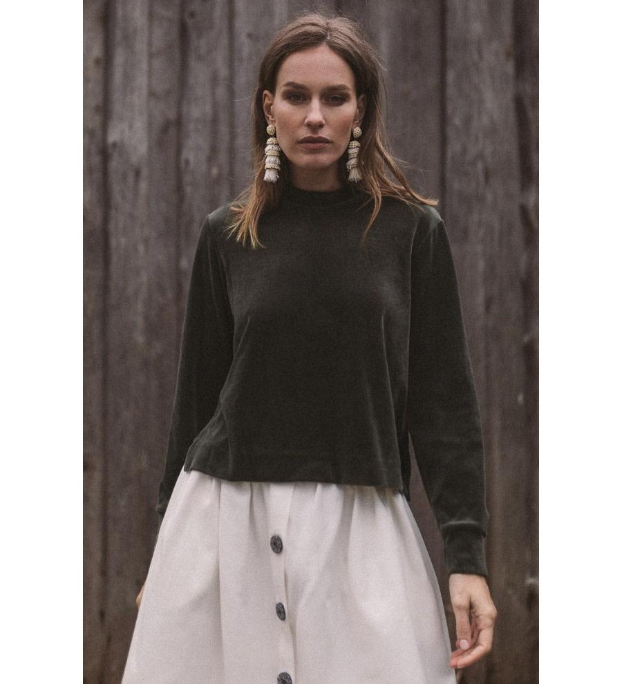 Olive Organic Velour Sweatshirt