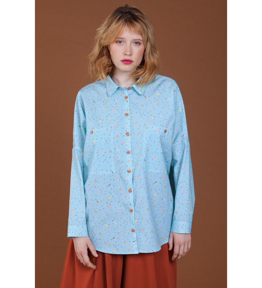 Pencil-Print Organic Cotton Shirt