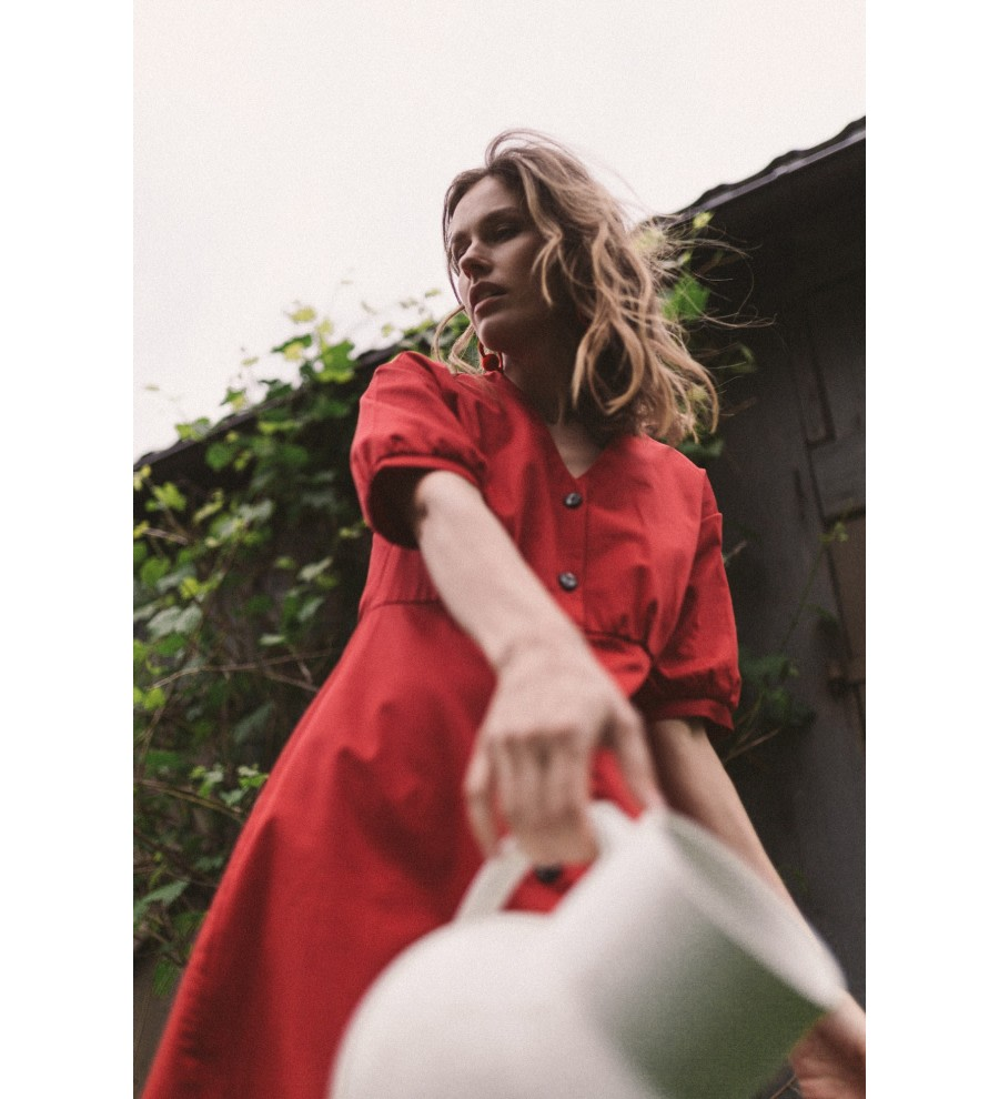 Red Organic Cotton Midi Dress