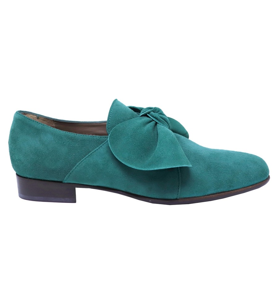 Forest Bow Suede Loafers