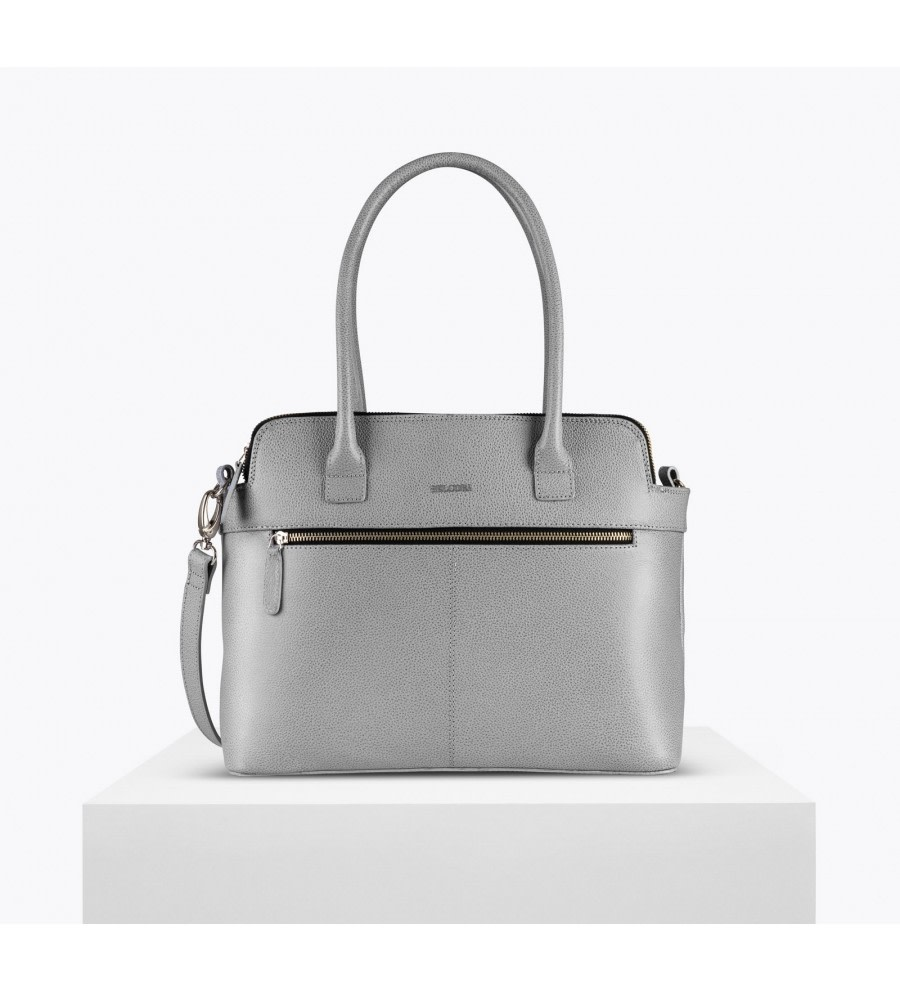 Silver Bio Leather Tote Bag