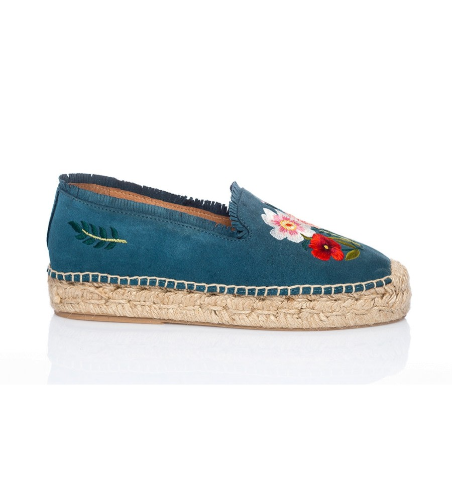 Blue Embroidered Suede Espadrilles