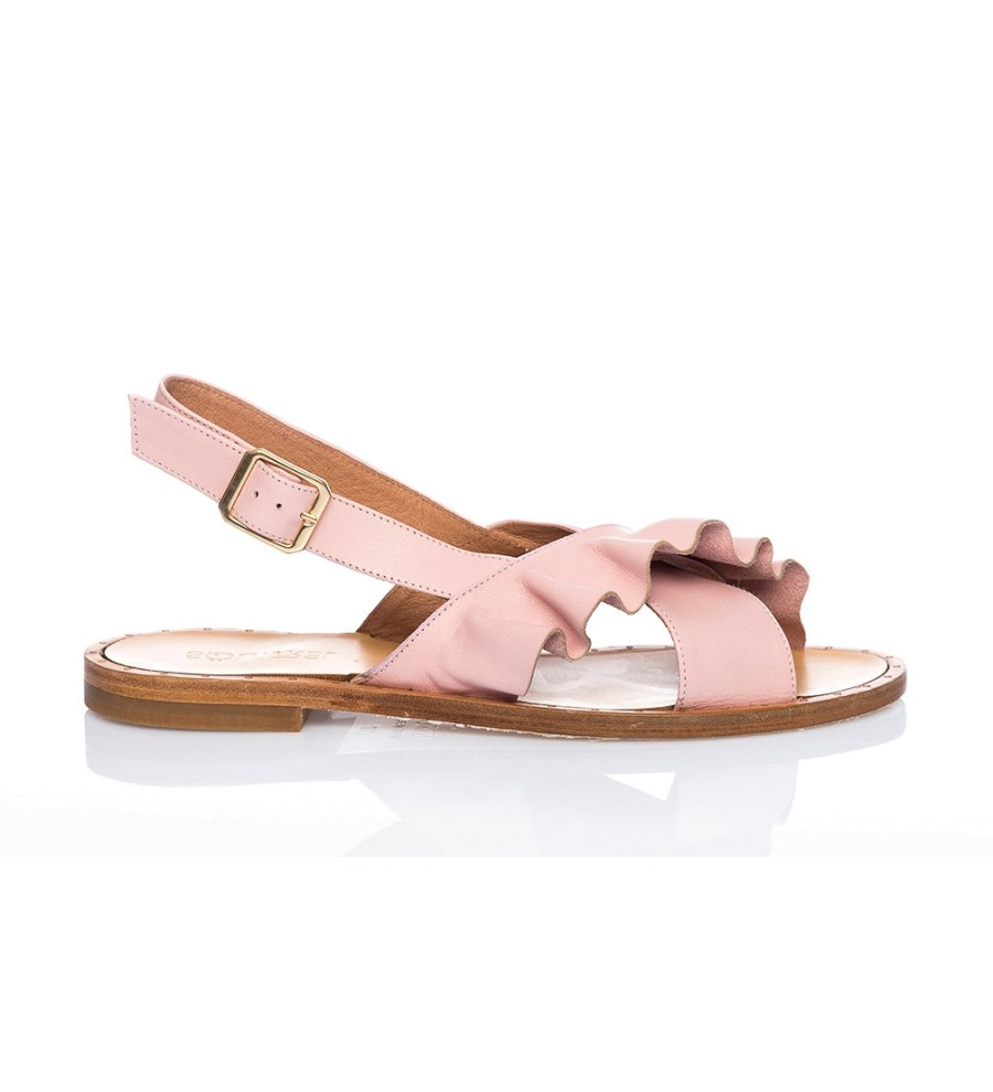 Pink Ruffle Leather Sandals