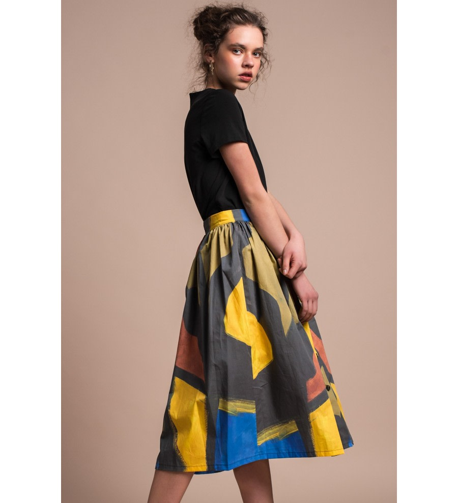 Abstract-Print Cotton Midi Skirt