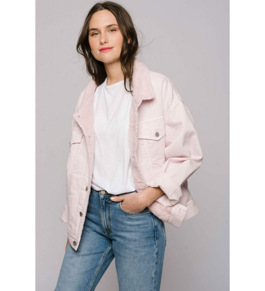 Pink Oversized Denim Jacket