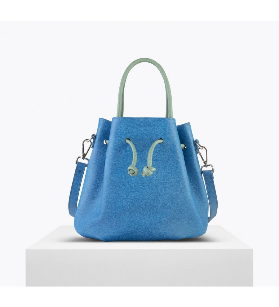 Tulipa Blue Leather Bucket Bag