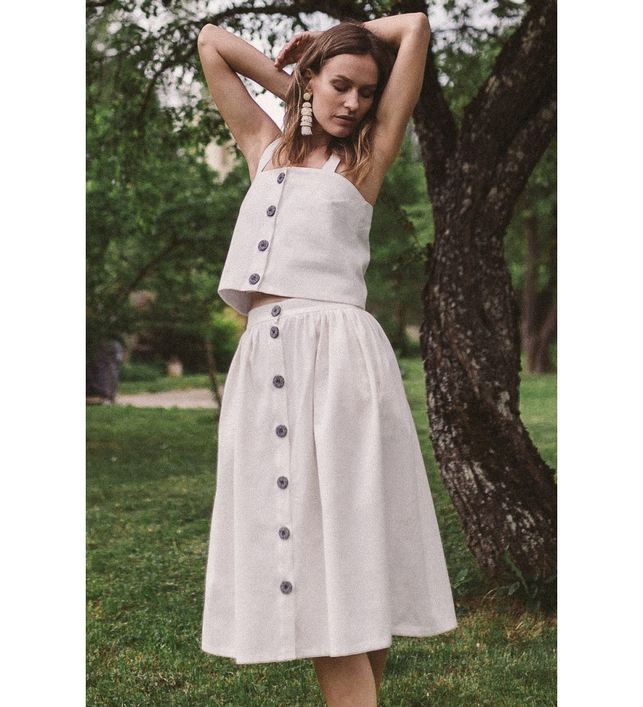 White Organic Denim Midi Skirt