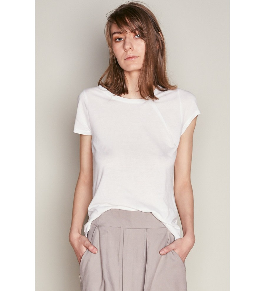 White Tencel Asymmetric T-Shirt